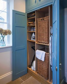 A well designed utility or boot room area with considered storage solutions can significantly improve your day to day living. A well designed utility or boot room area with considered storage solutions can significantly improve your day to day living. Laundry Cupboard, Utility Cupboard, Hall Cupboard, Airing Cupboard, Mudroom Laundry Room, Small Laundry Rooms, Laundry Room Design, Cupboard Storage, Laundry Baskets