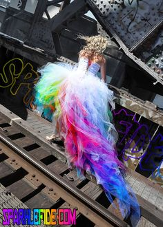 Vivid Rainbow Wedding Dress by SparkleFide on Etsy