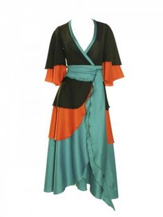 Get into a Studio 54 groove with this Giorgio di Sant' Angelo black, orange, and turquoise tiered wrap dress. Vintage Outfits, Vintage Fashion, Cool Style, My Style, Tiered Dress, Day Dresses, Wrap Dress, Cold Shoulder Dress, Style Inspiration
