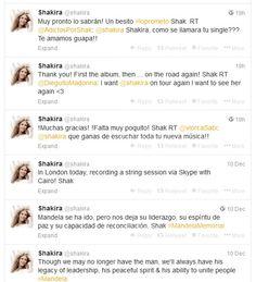 Shakira Sente Perda de Mandela e Fala sobre Single e Turnê no Twitter http://evpo.st/IQh4DH