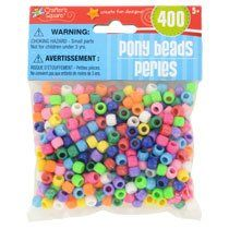 TBC HOME DECOR Plastic Pony Beads, 400-ct., CASE OF 12 PACKS for craft projects for kids, including jewelry, hair braiding, key chains, and more