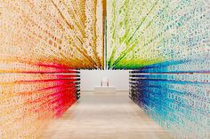 approximately 120,000 figures express the movement of years, days, hours, minutes, seconds milliseconds, and smaller, in this rainbow-hued immersion.