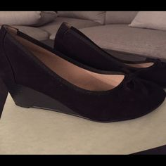 Suede wedges with bow detail Black suede. Comfortable. Previously loved but only worn 2 times! Bombshell Shoes Wedges