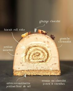 he Sunday is pastry! Just to be in the theme, I made this log, mixing roll cake biscuit, recipe Beaux Desserts, Fancy Desserts, Köstliche Desserts, Plated Desserts, Dessert Recipes, Cinnamon Desserts, White Cakes, Pastry Art, Beautiful Desserts