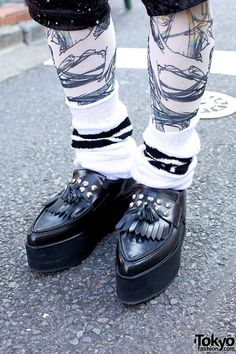 Christian Dada x Underground platform loafers with white striped socks and printed tights. Guys can rock those platform loafers too #ChristianDada