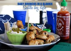 Pigs 'n a Blanket with Grilled Onion Cream Cheese Dip (AKA Baby Broncos in a Blankie, Seattle Dog Style) // Loves Food, Loves to Eat #Superbowl #gameday