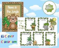 FREE News Chart Jungle Theme Classroom Poster - PDF fileA simple, 2 page classroom poster designed by Clever Classroom.Display the full-pag...
