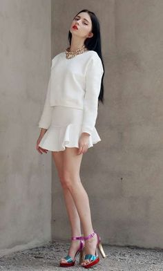 Long Sleeve Sweatshirt Top and High Waist Mini Skirt Two Pieces Suit in White   Choies