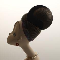 """Chocolat Brown"" doll made from Ceramic and Multi Media by Keiko Araki."