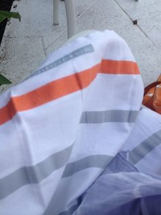 My new @Annelie Bleckman towel in grey and orange stripe