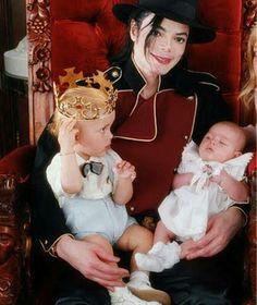 Michael Jackson with two of his kids, Prince and Paris Jackson.