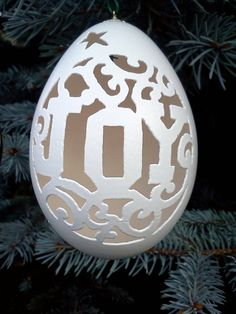 Carved Goose Egg Ornament Christmas Joy