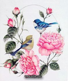 """""""Drawing and painting on tiles to be a frame on your lobby, hall, . wall"""" The Effective Pictures We Offer You About applique kids A quality picture can tell you many things. You can find the most be Illustration Botanique, Botanical Illustration, Wood Painting Art, Fabric Painting, Watercolor Bird, Watercolor Paintings, Image Deco, Bird Pictures, Vintage Birds"""