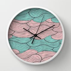 Summerlicious Wall Clock by Pom Graphic Design #wallclock #homedecor #decor #accentdecor #seawaves #waves #nautical #nauticaldecor #teal #coral #turquoise #clock #forthehome