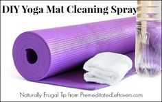 How to Make Yoga Mat Cleaner     1/4 cup witch hazel (or white vinegar)     1 cup water     8 drops tea tree oil (optional)     8 drops sweet orange oil (optional) Combine in a spray bottle Directions: Spray & wipe down the mat, then wipe off cleaner with a damp cloth, follow with a dry cloth. Repeat on other side and air dry mat.