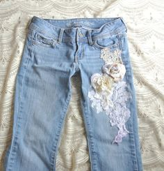 embellished jeans Boho lace jeans romantic by TrueRebelClothing