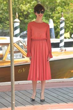#PazVega, in occasion of the 72nd edition of #VeniceFilmFestival, has been seen at the imbarcadero wearing a chiffon printed dress by Philosophy di #Lorenzo Serafini.