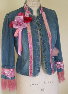 Upcycled embellished denim jacket