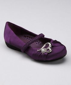 Take a look at this Purple Strappy Heart Flat by Step It Up: Girls' Footwear on #zulily today!
