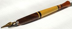 An offset straight holder with walnut burl, yellow heart, wenge, maple and mahogany Walnut Burl, Calligraphy Pens, Typography, Lettering, Penmanship, Tools, Yellow, Heart, Feathers
