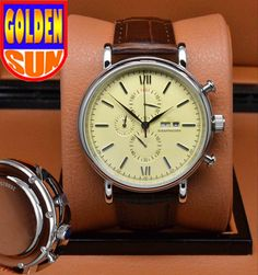 IW chronograph 44mm beige dial stainless steel case