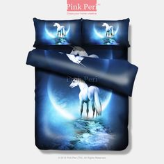 Unicorn under the moon lighting Bedding sets Home & Living Wedding Gifts Wedding Idea Twin Full Queen King Quilt Cover Duvet Cover Flat Sheet Pillowcase Pillow Cover 002
