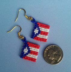 Earrings Beaded Flag Puerto Rico Pair Puerto by QueXopaPanama
