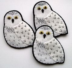 Last night I made a trio of snowy owl brooches:  The story behind these is a pretty typical one for me - I made a snowy owl brooch over a ye...