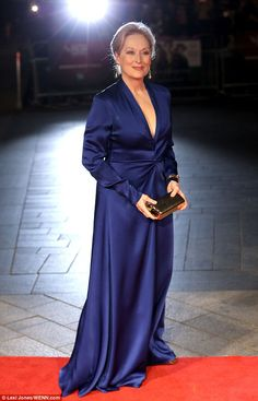 Into The Spotlight: Meryl Streep stood out in a divine  cobalt blue gown at the Suffragette premiere in London