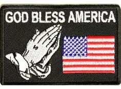 """US Flag Patch God Bless America Praying Hands for vest jacket size 4"""" Christian. Biker Motorcycle Patches, Great High definition Coloring. Embroidered patches for jacket vest or shirt. High quality st"""