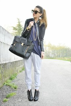SWEAT PANT WITH HEELS (by Nicoletta Reggio) http://lookbook.nu/look/4275381-SWEAT-PANT-WITH-HEELS