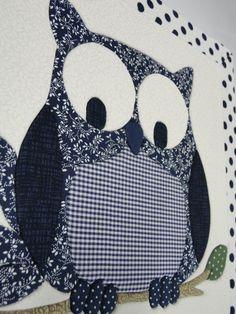 Caixa com arte de patch embutido , revestida com tecido de algodão