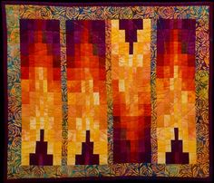 Fiery small art quilt - gorgeous flame colors.