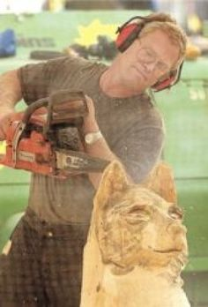 Chainsaw craftsman: Carver turns stumps into sculpture at fair Wisconsin Dells, Chainsaw Carvings, Statues, Craftsman, Sculptures, Artist, Artisan, Effigy, Sculpture