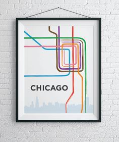 Chicago L Train Map Print / Chicago Loop Wall Art by HelloHappyPrintCo on Etsy https://www.etsy.com/listing/247398229/chicago-l-train-map-print-chicago-loop