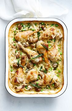 Creamy chicken and risoni tray bake For an easy one-pan dinner, try this creamy chicken, mushroom and risoni bake.