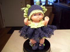 "Berenguer 5"" Baby Dolls - Navy/Lime lace dress #47  More can be seen on Pinterest under Jana Langley Berenguer 5"" Dolls with crocheted outfits"