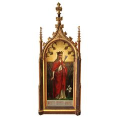 "Massive Gothic Revival Decorative Frame by Augustus Welby Pugin  England  1840's  A Gothic revival gilt and polychrome decorative frame by Augustus Welby Pugin. This frame was designed for the de Lisle family at Grace Dieu, near Colville, Leicestershire. It frames a portrait of 'Saint Filomena, Standing with Arrows.' The painting itself is oil on canvas, laid onto lead. Dimensions of the painting are: 71"" x 31"""
