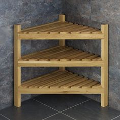 Neat and Tidy this Slatted Solid Oak Freestanding Corner Cabinet is perfect where space is at a premium and storage required! Oak Corner Tv Unit, Corner Shelving Unit, Corner Storage, Bookcase Storage, Oak Shelves, Wall Mounted Shelves, Wooden Shelves, Oak Bathroom, Bathroom Storage