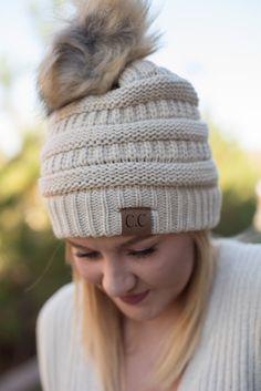 3e61a2b93572e CC solid beanie with fur pom beige from Lush Fashion Lounge Cc Hats