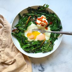 Eggs and Greens #breakfast #easy #quick https://greatist.com/eat/insanely-easy-blogger-breakfasts
