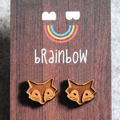 Wooden Fox Earring by bRainbowshop on Etsy, $22.00
