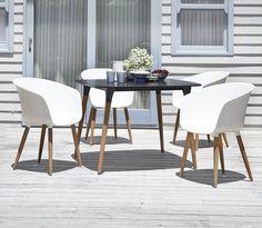 Pöytä UBJERG 107cm+4 tuolia VARMING valk, JYSK