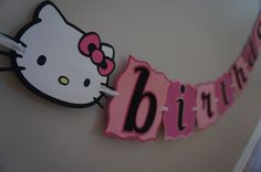 Hello Kitty Pink Birthday Banner MADE TO ORDER by ReallyRenata