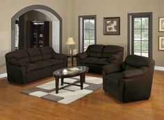 3pcs. Chocolate Microfiber Finished Sectional Set by Acme 50175-SET
