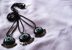 Eye Needle Lace Necklace  Psychedelic  by BettysArtworks on Etsy