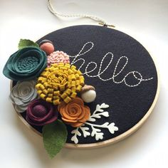 Embroidery Hoop Art, Wall Art, Hello, 3 dimensional felt flowers, mustard, teal, orange, pink, grey, black, wine, felt ball acorns