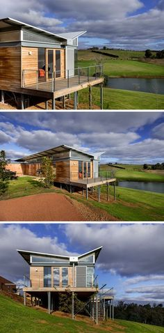 This modern Australian weekender house features a unique butterfly roof that protects it from heavy rains. Australian Architecture, Roof Architecture, Modern Architecture House, Australian Homes, Residential Architecture, Small House Design, Modern House Design, House Roof Design, Butterfly Roof