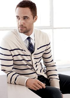 "Men look amazing in outfits like this. I call this ""sexy preppy"". Hit up J.Crew or Gap to pull off this simple look. Remember to buy the shirt & sweater fitted, not loose."