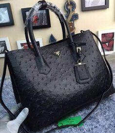 Prada Ostrich Leather Tote Bag BN2756 Black 5d64766dd0c2f